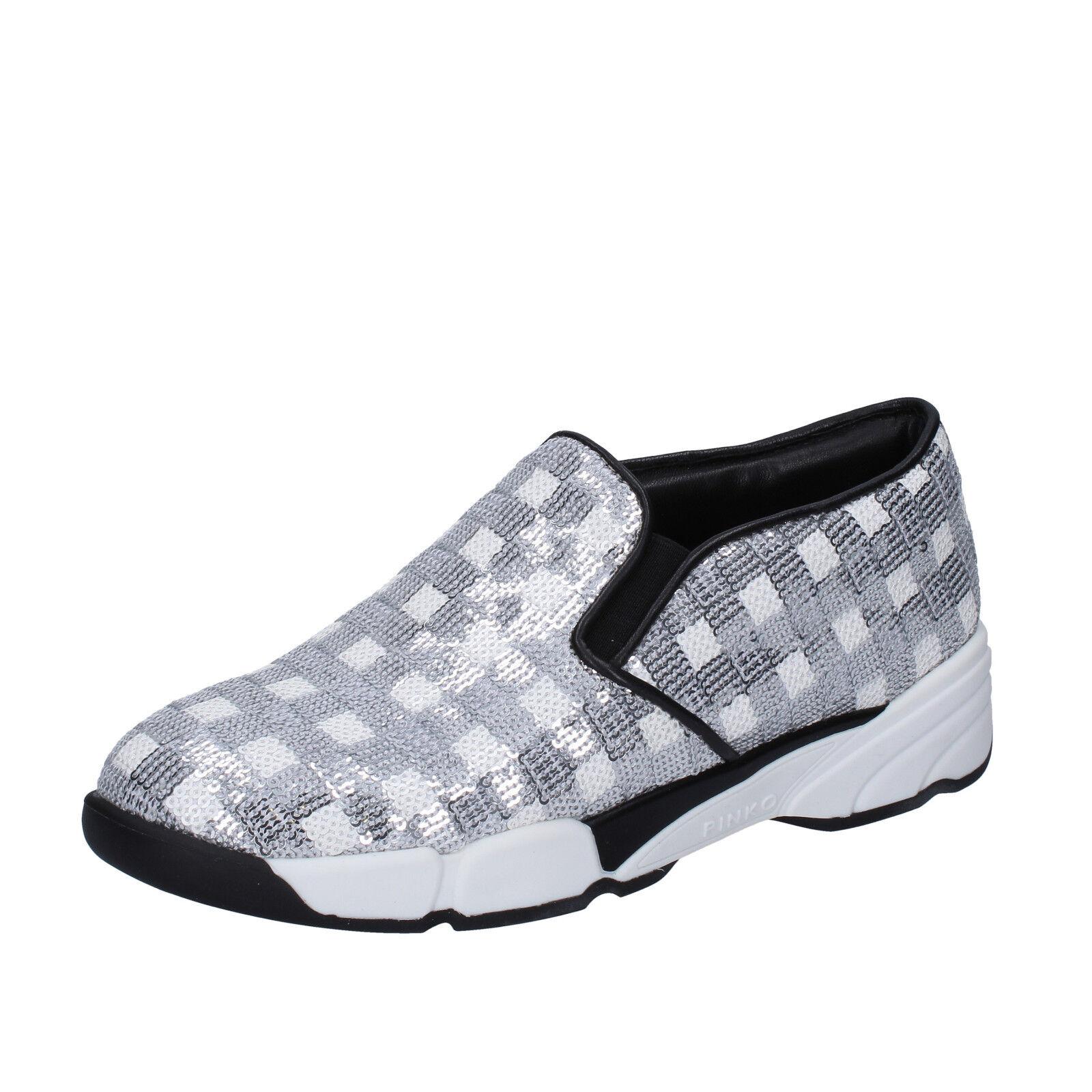Para mujeres Zapatos rosadoO 9 (EU 39) Resbalón En En En blancoo Plata Purpurina BT251-39 950c6e