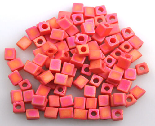100 MIYUKI CUBE BEADS OPAQUE RAINBOW RED FROST 4MM