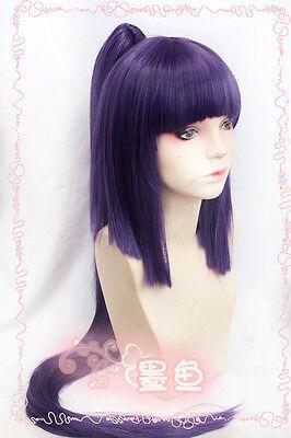 LOG HORIZON Dark Purple Long Straight Cosplay Party Wig+Long Ponytail