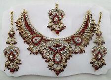 Schmuckset Collier Kette Ohrringe Tikka rot gold Strass Sari Bollywood Indien