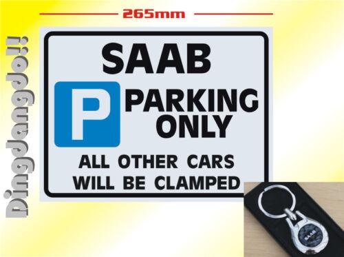 Saab Keyring /& Parking Sign Novelty Gift Set Key Ring
