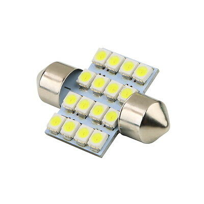 16 SMD LED 1210 31mm Car Interior Dome Festoon Bulb Light Lamp White DC 12V fo