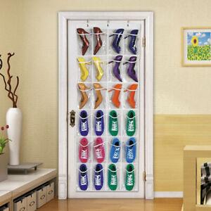 24-Pocket-Over-The-Door-Shoe-Organizer-Rack-Hanging-Storage-Holder-Hanger-Bag-US