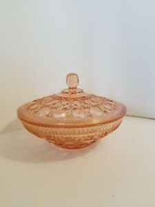 Vintage-Pink-Glass-Covered-Candy-dish-Windsor-Federal