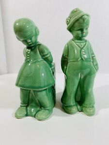 Boy-amp-Girl-Mint-Green-Planter-Pot-Set-Pottery-Glazed-Dutch-Vintage-Old-Shawnee