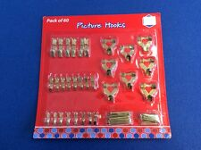 Picture hooks, in assorted sizes, 60 pieces (30 hooks + 30 nails),  New