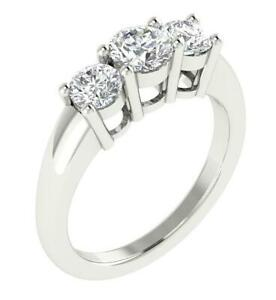 3-Stone-Engagement-Ring-SI1-G-0-80-Ct-Round-Diamond-14K-White-Gold-4-35MM