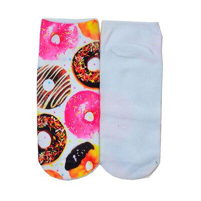 Cute Casual Unisex 3D Foods&Flowers Printed Low Cut Ankle Socks Multiple Colors
