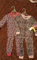 Angel Face Toddler Girls 4 Pc Snug Fit Pajama Set Size 4 Cheetah And Zebra