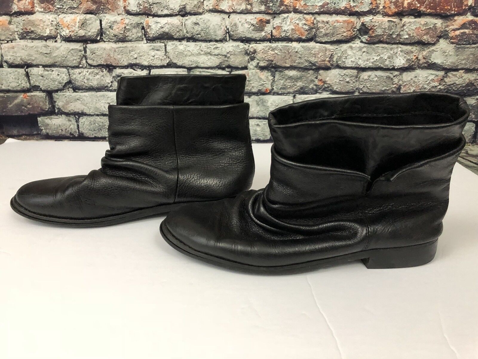 Tout a Coup Black Leather Booties Boots Size 37