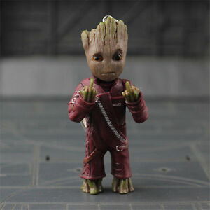 1pc Guardians of the Galaxy Vol.2 Baby Groot Middle finger Key Chain Figure Gift