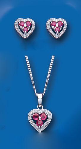 Rubí y Diamante Colgante de Corazón Conjunto pendientes de plata esterlina sólida y