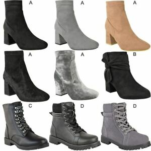 Womens Ladies Ankle High Boots Low