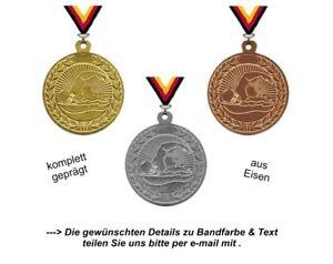 Schwimm-Medaillen (Staffelpreise) Set aufgeteilt in 3 Farben-mit Band & Text