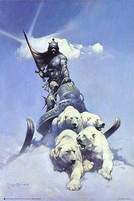 FRAZETTA ART POSTER SILVER WARRIOR 24x36 FANTASY 807