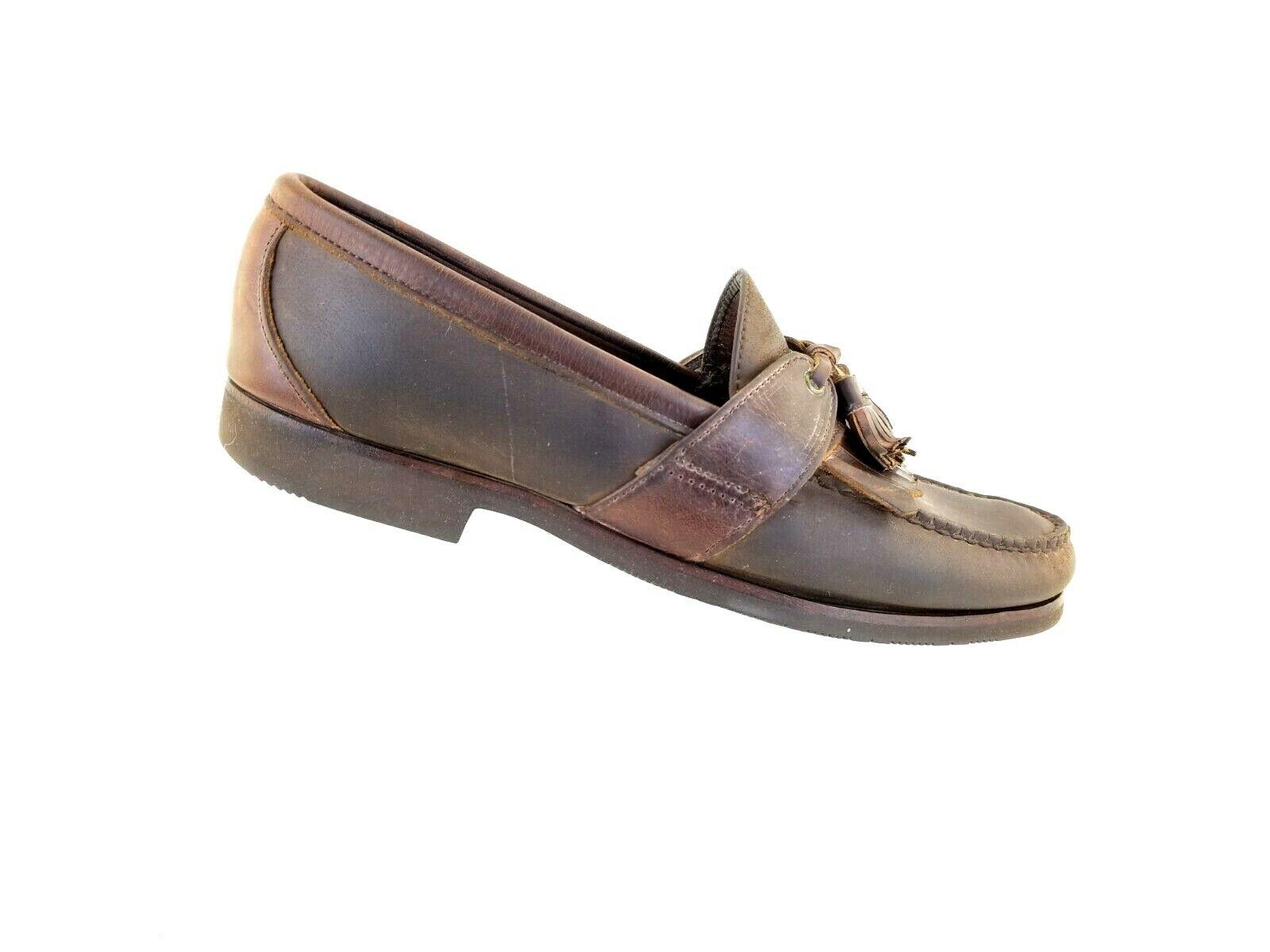 Allen Edmonds Enfield Loafers Slip On Moc Tassel Brown Narrow Leather Size 9.5 B
