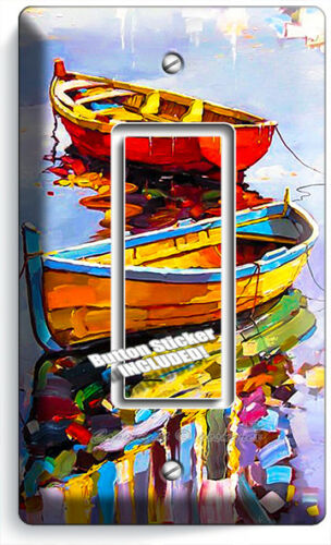 COLORFUL BOATS ON LAKE SINGLE GFI LIGHT SWITCH WALL PLATE COVERS ROOM HOME DECOR