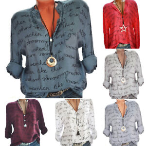 Plus-Size-Women-Loose-V-Neck-Button-Long-Sleeve-Letter-Blouse-Pullover-Top-Shirt