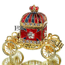 Handmade Metal Crown Carriage Trinket Box Wedding Favor Collectible Jewelry Box