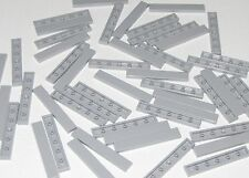 Lego Lot of 50 New Light Bluish Gray Tiles 1 x 6 Flat Smooth Pieces