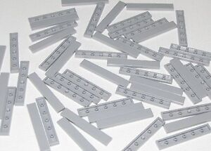 Lego-Lot-of-50-New-Light-Bluish-Gray-Tiles-1-x-6-Flat-Smooth-Pieces