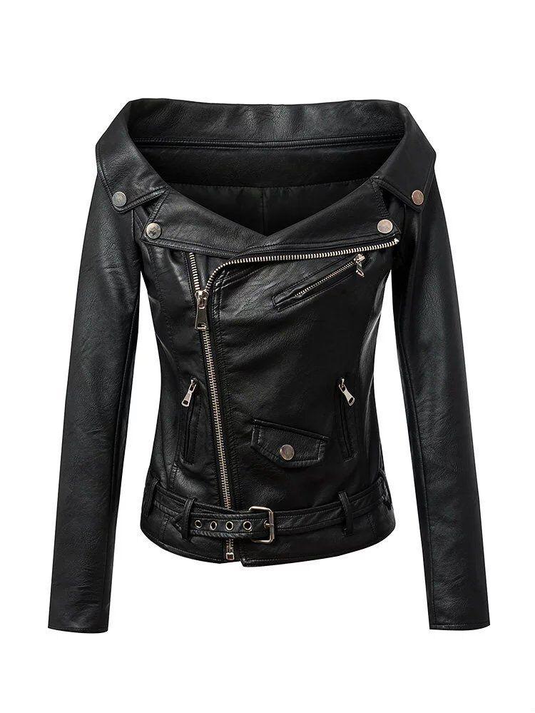 Motor Punk para para para Mujer y Dama de Cuero Biker Chaquetas con cintura sin hombros Prendas de abrigo 31c01e
