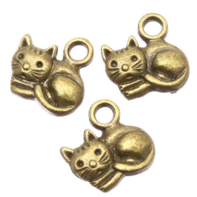 50pcs New Sale Antique Bronze Cat Shape Charms Alloy Pendants Jewelry Findings L