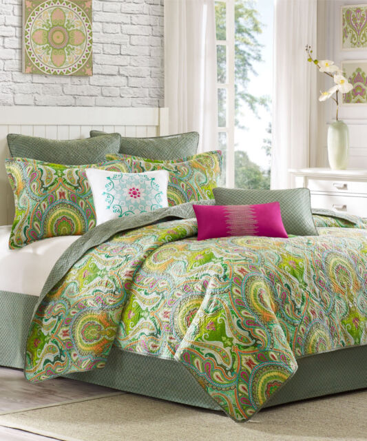 4 Pc Set Echo Design Taj Full Queen Quilt Euro Shams Throw Pillow Jade Green Bed