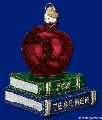 TEACHER/'S APPLE OLD WORLD CHRISTMAS GLASS SCHOOL BOOK FRUIT ORNAMENT NWT 36128