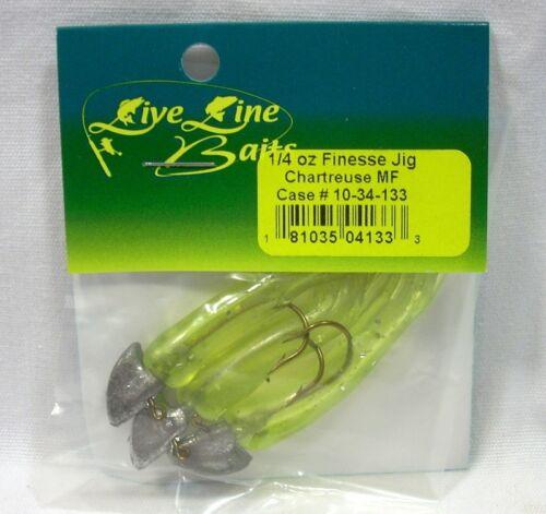 Live Line Baits 1//4oz Walleye Finesse Jig Chartreuse Metallic Flake Package of 3