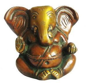 GANESH-Lord-Ganesha-Statue-Messing-Ganapati-Statuette-Hindusimus-H-11cm-Indien