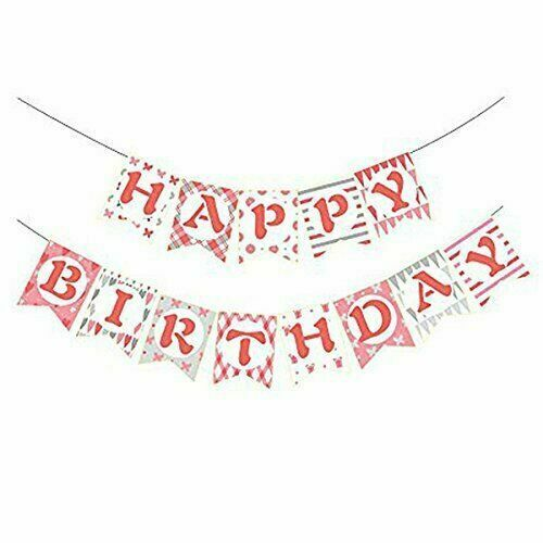 Pink//White Happy Birthday Bunting Banner Party Decorations Hanging Garland Decor