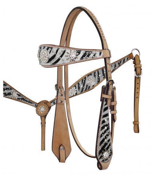 WHITE Zebra Print Headstall Breast  Collar Set with Sparkling Rhinestone Conchos   lowest whole network