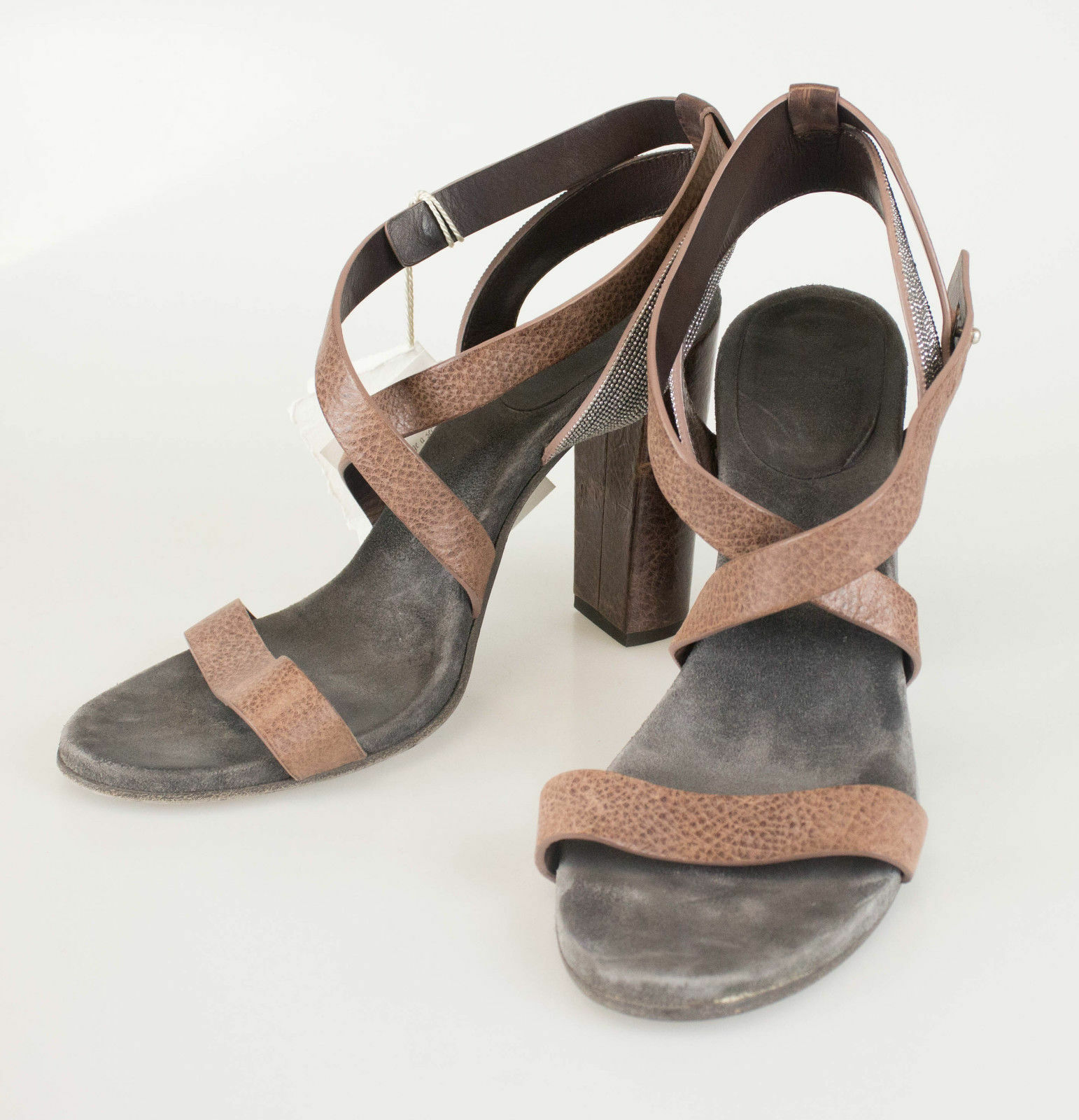 BRUNELLO CUCINELLI braun Leather Open Toe Strappy Heels schuhe schuhe schuhe 10 40  1330 94eea7