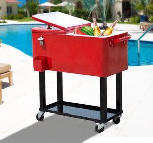 La Foto Se Está Cargando Outdoor Patio 80quart Party Portable Rolling Cooler  Cart