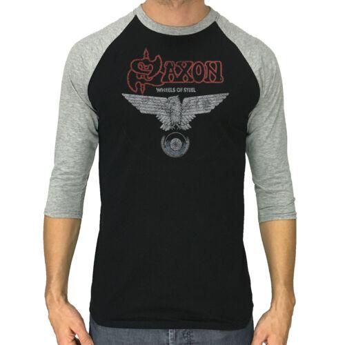 Saxon shirt wheels of steel ROCK BAND Neuf Hommes à Manches 3//4 Baseball Raglan Tee