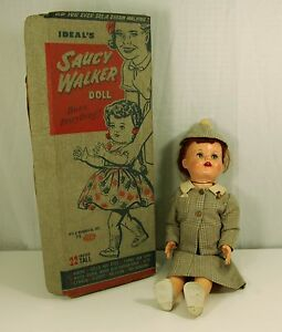 """Ideal Saucy Walker in Original Box 22"""" she has a suit on & hat really fantastic"""
