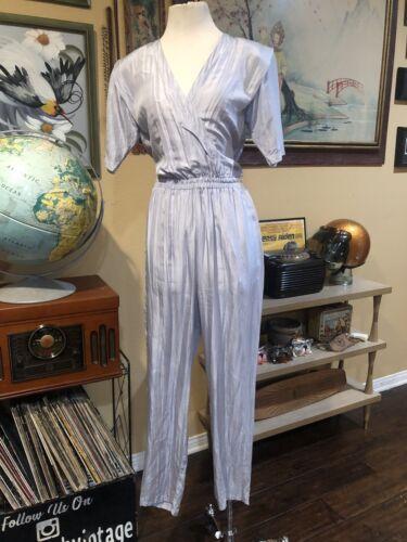 Vintage 1980's Silk Silver Jumpsuit By Stewart Spo
