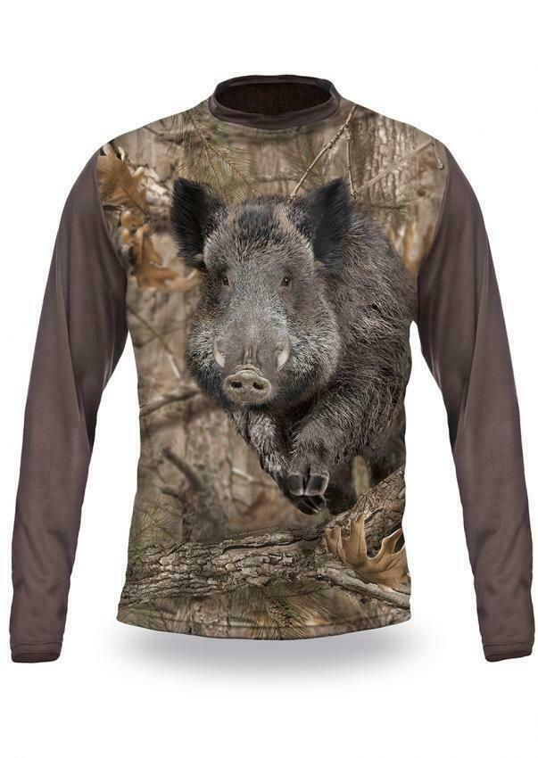 Wild Boar Runs 3D T-Shirt Long Sleeve Langarm Shirt Wildschwein