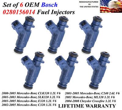 6x Genuine Bosch OEM Fuel Injectors for 2001-2005 Mercedes-Benz C240 2.6L V6