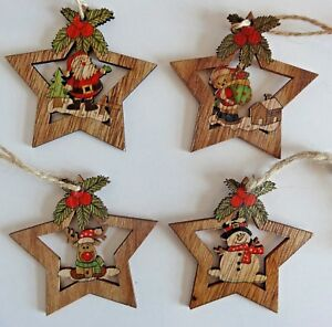 image is loading set 4 wooden christmas tree decorations rustic vintage