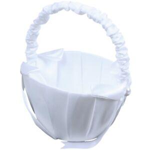 White-Satin-Beaded-Wedding-Flower-Girl-Basket-Bowknot-Decor-I7L0