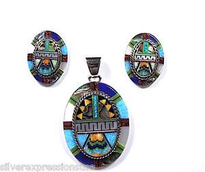 Fire-Opal-Multicolor-Inlay-925-Sterling-Silver-Southwestern-Pendant-Earrings