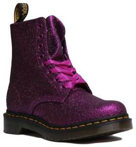 Noir Pourpres 1460 Glitter Multi Pascal Bottines Synthétiques Femme Martens Uk Dr Taille An0waa