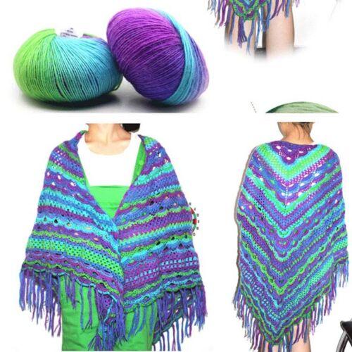 Sale 1 Ball X 50gr Soft Cashmere Wool Colorful Rainbow Wrap Shawl Hand Knit Yarn
