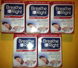 130 BREATHE RIGHT NASAL STRIPS EXTRA TAN ( 5 x 26 CT BOXES ) World Wide SHIPPING