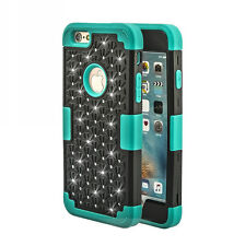 Lovely Hybrid Rugged Rubber Bling Crystal Case Cover For iPhone 6S /6S Plus /5Se