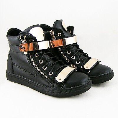 Damen High Top Sneakers Ketten Zipper Sportschuhe Schnürer WOW