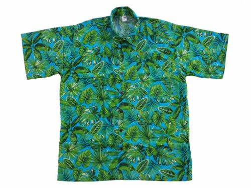 Hawaiihemd Hawaii Hawai Hemd blau Blätter tropisch grün