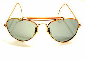 Vintage-Gold-Metal-Aviator-Sunglasses-Men-039-s-NOS-Aviator-Shooting-Glasses-Shooter